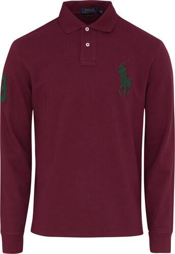 17f722d40145 Μπλούζα πόλο Polo Ralph Lauren Μπορντώ σε Custom slim fit Γραμμή 710671951  008-RED