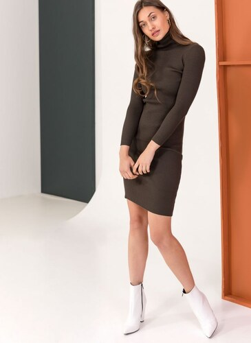 -50% The Fashion Project Ριπ εφαρμοστό φόρεμα με ζιβάγκο - Χακί -  06085022009 1b405bd32b8
