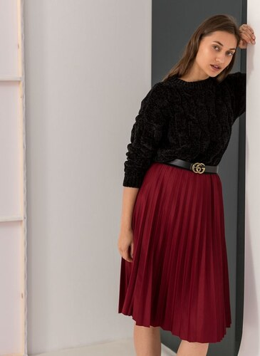 The Fashion Project Πλισέ midi φούστα με λάστιχο στη μέση - Μπορντό -  06067031001 fc9a5b56429