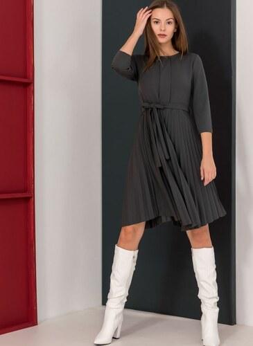 322fff26caf7 The Fashion Project Πλισέ φόρεμα με πιέτα στο μπούστο - Ανθρακί -  06082039001