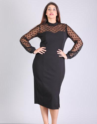 9394a05ba8e7 e-xclusive Μίντι φόρεμα με πουά δίχτυ - Glami.gr