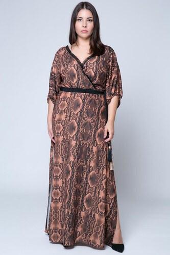 015223dd33c9 Happysizes Maxi κρουαζέ φόρεμα με snake print σε καμηλό χρώμα - Glami.gr