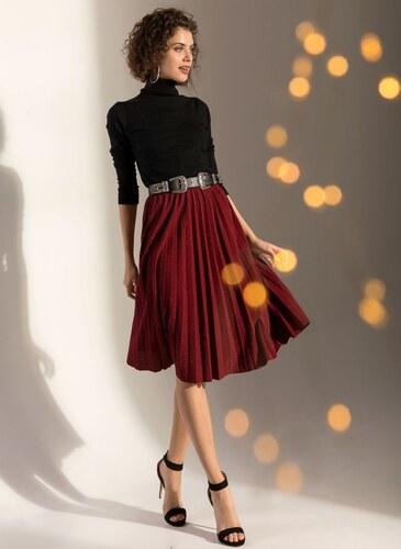 The Fashion Project Midi πλισέ φούστα από glitter ύφασμα - Μπορντώ - 001 3ec4097e376