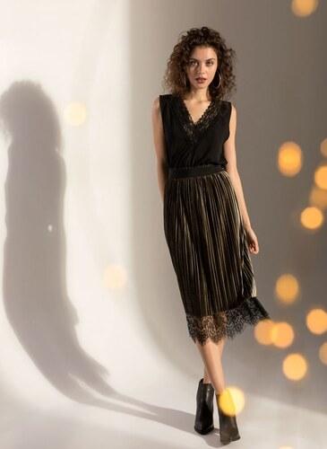 4a20fad636a The Fashion Project Ψηλόμεση φούστα διπλής όψης με δαντέλα - Πράσινο - 001