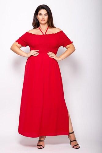 5cf0785e215b Parabita Plus Size Maxi έξωμο φόρεμα με σφηκοφωλιά - Glami.gr
