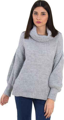 23e0726aef97 Huxley   Grace Γυναικείο γκρι πλεκτό μονόχρωμο πουλόβερ φαρδύ ζιβάγκο 2251F
