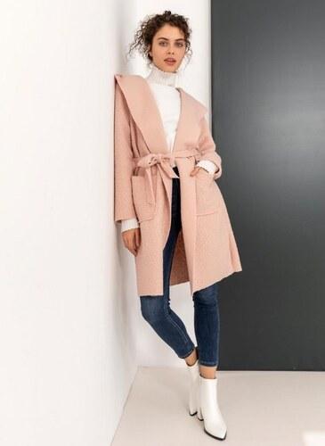 -50% The Fashion Project Πανωφόρι από οικολογικό sheepskin με κουκούλα -  Ροζ - 001 1d9b7bc0cb6