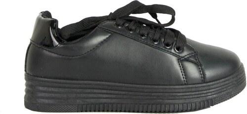 fe24c36f878 Huxley & Grace Γυναικεία μαύρα μονόχρωμα Sneakers κορδόνια LBS6516R ...