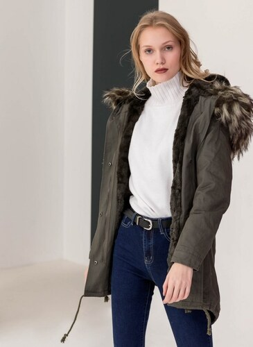 -57% The Fashion Project Παρκά με επένδυση από οικολογική γούνα - Πράσινο -  06428016003 eeb3d2de5a6