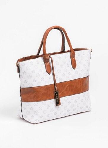 -25% The Fashion Project Τσάντα χειρός με pattern και φάσα δερματίνη -  Λευκό - 06390001001 bd8fbfd234c
