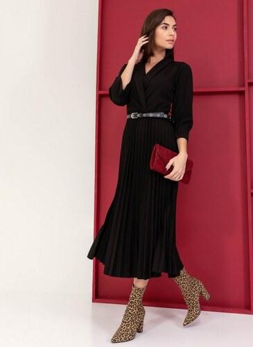 4fbbf17c51f0 The Fashion Project Κρουαζέ πλισέ φόρεμα με ζώνη - Μαύρο - 001 ...