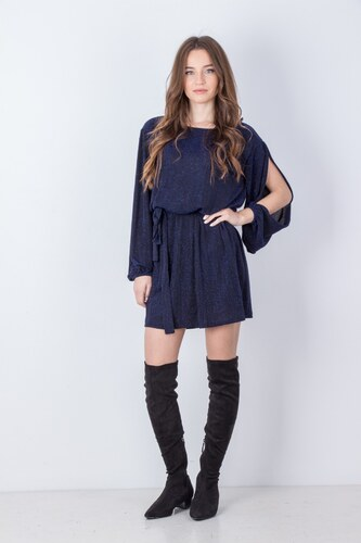 8477abfbcd8d miss poem Γυναικείο φόρεμα λούρεξ με ζώνη στην μέση ΜΠΛΕ - Glami.gr