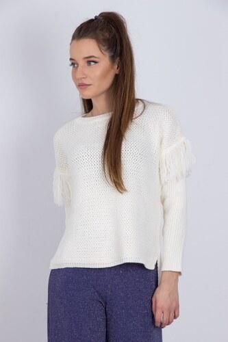 ef8cf09c8445 SAT Γυναικεία μπλούζα πλεκτή με κρόσια στα μανίκια ΕΚΡΟΥ - Glami.gr