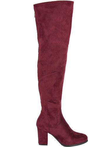 06b2ab8e348 Huxley & Grace Γυναικείες μπορντό μπότες Over The Knee χοντρό τακούνι E5117