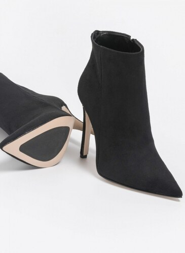 d62e0b75e95 The Fashion Project Suede μποτάκια αστραγάλου με λεπτό τακούνι - Μαύρο -  06510002003