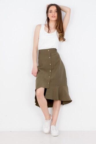 BB Γυναικεία φούστα ασύμμετρη με κουμπιά ΧΑΚΙ - Glami.gr bb7f40da370