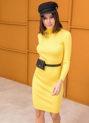 d5ee3f050f44 The Fashion Project Ριπ εφαρμοστό φόρεμα με ζιβάγκο - Κίτρινο - 06085015009