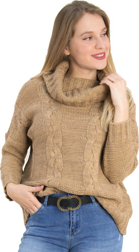 9b13b45c5363 Huxley   Grace Γυναικείο μπεζ πλεκτό πουλόβερ με φαρδύ γιακά 631631F ...