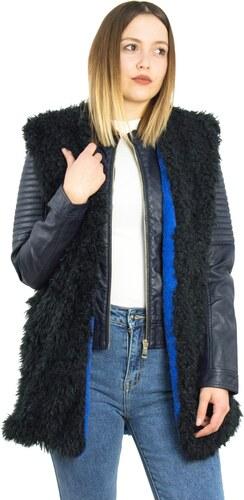 Γυναικείο μαύρο-μπλε αμάνικο γουνάκι φλις επένδυση Benissimo 61913J ... 0d65a209f58