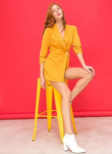 The Fashion Project Overall σακάκι-σορτς με χρυσό κουμπί - Κίτρινο -  06538015001 83fb655ae9e