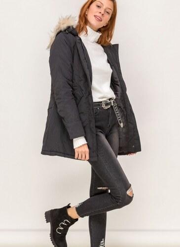 -20% The Fashion Project Μακρύ μεσάτο μπουφάν - Μαύρο - 06562002004 b158ad9815c