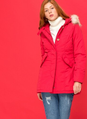 The Fashion Project Μακρύ μεσάτο μπουφάν - Κόκκινο - 06562014004 ... c976a8e9430