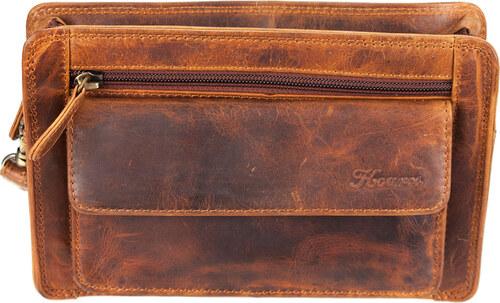7948648e292 Kouros Δερμάτινο Τσαντάκι Χειρός Αντρικό Καφέ Kara Model LP-25 ...