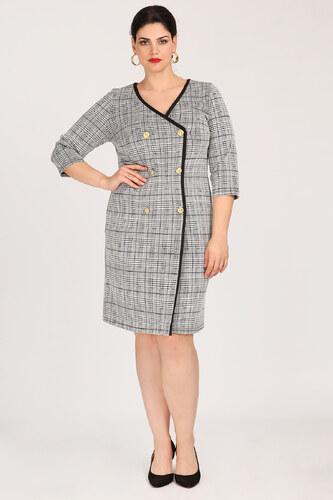 3dc43656a46f Dina XL Plus Size Σταυρωτό φόρεμα καρό prince de galles - Glami.gr