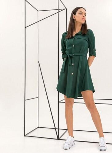 50a14c83db43 The Fashion Project Φόρεμα-πουκάμισο με χρυσά κουμπιά - Κυπαρισσί -  06541071001