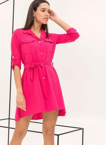 5678f39aa4a6 The Fashion Project Φόρεμα-πουκάμισο με χρυσά κουμπιά - Φούξια - 06541020001