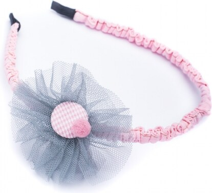 70662821499 Tsoudi Accessories Ροζ Στέκα Μαλλιών με Γκρι Λουλούδι Τούλι - Glami.gr