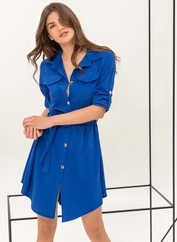 e755a3705682 The Fashion Project Φόρεμα-πουκάμισο με χρυσά κουμπιά - Ίντιγκο -  06541060001