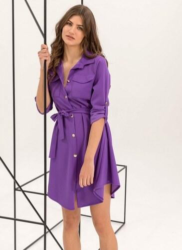 402d7c882068 The Fashion Project Φόρεμα-πουκάμισο με χρυσά κουμπιά - Μωβ - 06541021001