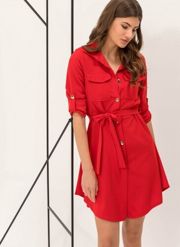5f9510e7dae4 The Fashion Project Φόρεμα-πουκάμισο με χρυσά κουμπιά - Κόκκινο -  06541014001
