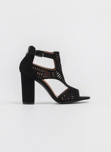 d324828dbb1 The Fashion Project Block heel πέδιλο-μποτάκι με διάτρητο σχέδιο - Μαύρο -  06898002002