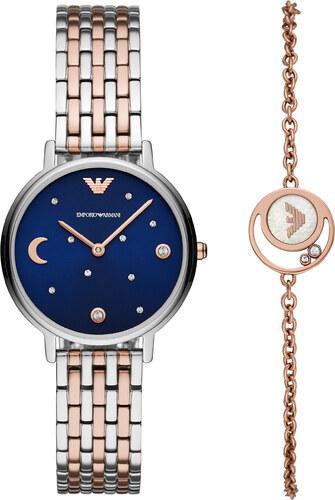 173fe2d326 Ρολόι EMPORIO ARMANI - Two Tone Watch   Bracelet Gift Set AR80024  Silver Rose Gold Silver