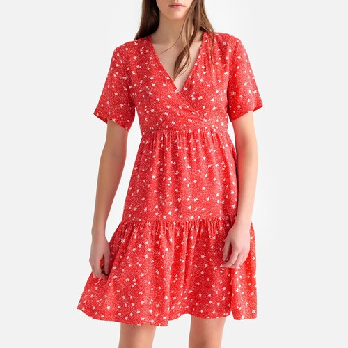 ff29a5eb872f SUNCOO Κοντομάνικο κρουαζέ φόρεμα με βολάν - Glami.gr