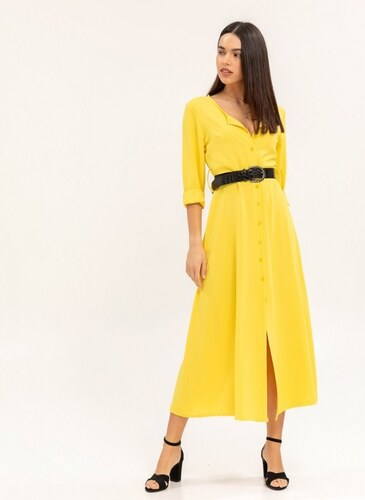 eb7f618702de The Fashion Project Maxi φόρεμα με κροκό ζώνη - Κίτρινο - 06998015001