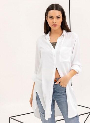 99cf81781b26 The Fashion Project Μακριά πουκαμίσα με κουμπιά σε άνετη γραμμή - Λευκό -  07125001001