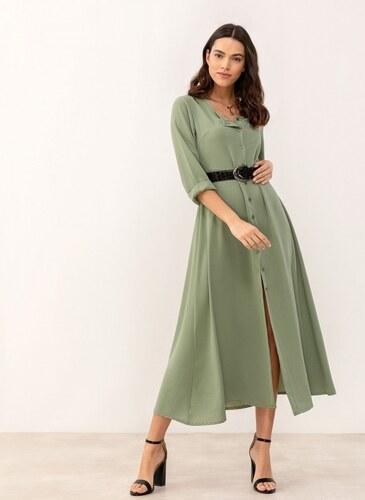 de1011823bbb The Fashion Project Maxi φόρεμα με κροκό ζώνη - Λαδί - 06998096001 ...
