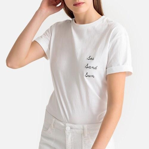 e8fba998641 SUNCOO T-shirt με στρογγυλή λαιμόκοψη και μήνυμα στο στήθος