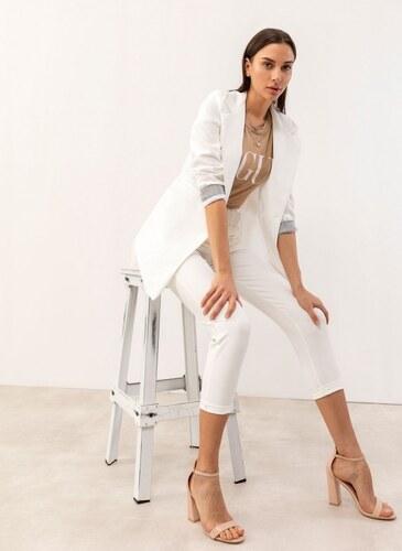 5fe73b14f15d -30% The Fashion Project Μακρύ σακάκι με ριγέ λεπτομέρεια στα μανίκια -  Λευκό - 07226001004