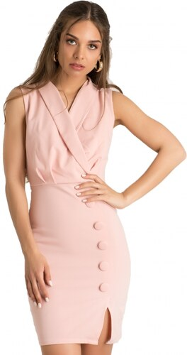 80d9358338f8 -21% DeCoro F22555 Φόρεμα Κρουαζέ με Διακοσμητικά Κουμπάκια - ΡΟΖ - 10
