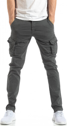 6ed4da7c470 Accross Ανδρικό σκούρο γκρι παντελόνι cargo