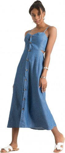 88e830bbeb07 DeCoro F2587 Φόρεμα Jean με Δέσιμο στην Πλάτη - ΤΖΙΝ ΣΚΟΥΡΟ - 17 ...