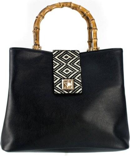 6ad60ef151 MIGATO Μαύρη τσάντα με ξύλινο χερούλι - Glami.gr