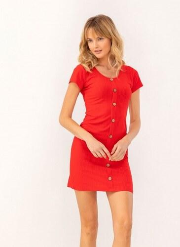 66a14a2f41b3 -20% The Fashion Project Ριπ φόρεμα με ξύλινα κουμπάκια - Κόκκινο -  07463014001