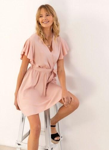 1fa880229f68 The Fashion Project Κρουαζέ φόρεμα με βολάν στα μανίκια - Nude - 07537004001
