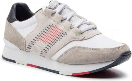 3b66982f7b8 -10% Tommy Hilfiger Corporate Material Mix Runner FM0FM02056 White 100 Λευκά  Ανδρικά Sneakers Tommy Hilfiger FM0FM02056 White