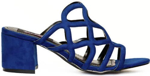 eb5ad9cfff5 Πέδιλα μπλε σουέτ με σχέδιο και χοντρό τακούνι - Glami.gr